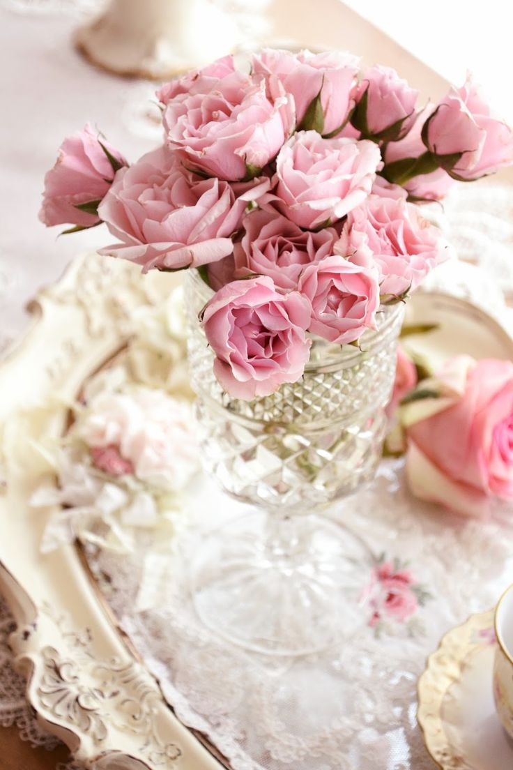 Pink roses in depression era / vintage cut crystal/glass. Also white washed tray and lace. Picture from: Jennelise: Wishing For Spring