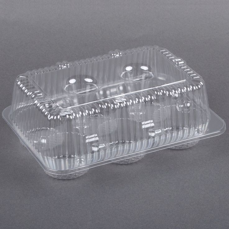 Par-Pak 2020 6-Cup High Top Hinged OPS Plastic Cupcake Container - 10 / Pack - $4.69