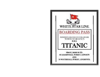 Rms Titanic Ticket Boarding Pass Titanic And Students
