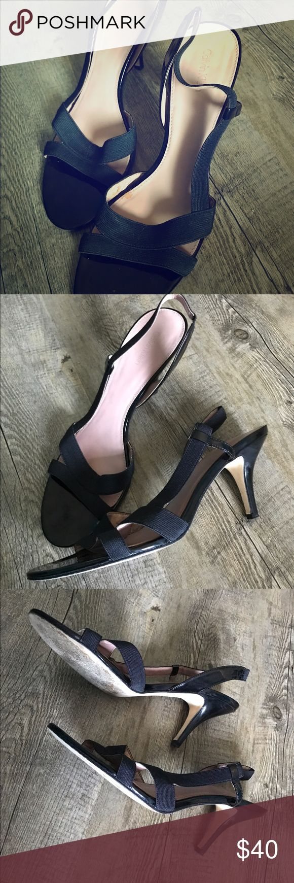 Calvin Klein black strappy sandal heels These are a pair of black elastic and patent leather strappy evening sandals with a small heel. Light wear is visible, though only worn 2x for 2 weddings. You can wear them for hours! Calvin Klein Shoes Sandals