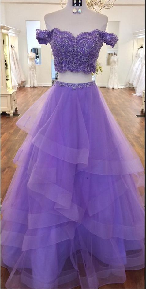 Off Shoulder Appliques Prom Dress, Sexy Two Piece