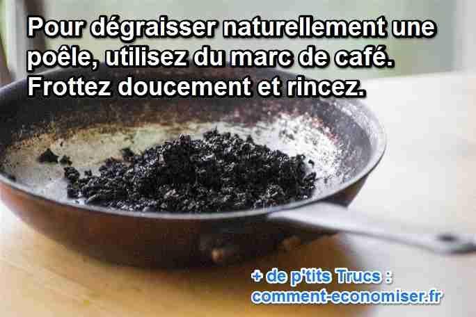 dégraisser poele marc de café naturel