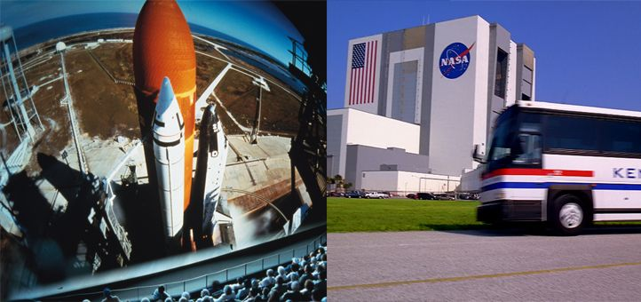IMAX Theatre and Vehicle Assembly Building at Kennedy Space Center Visitor Complex