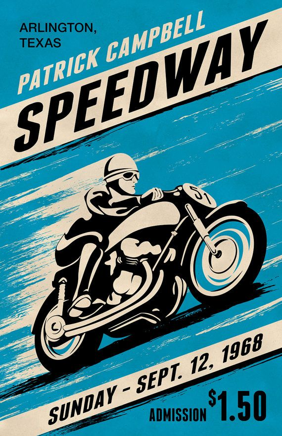 Custom Retro Style Motorcycle Racing Poster  by MeltonGraphics, $29.00