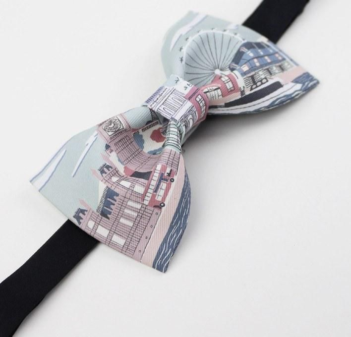 Pastel London Bow Tie:  The pictures are a caricature of London but the art definitely works. Even a Lord would be proud to wear this tie. bowselectie.com