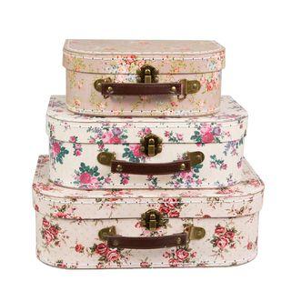 Pappkoffer Set  VINTAGE ROSE, 3-tlg Kinderkoffer