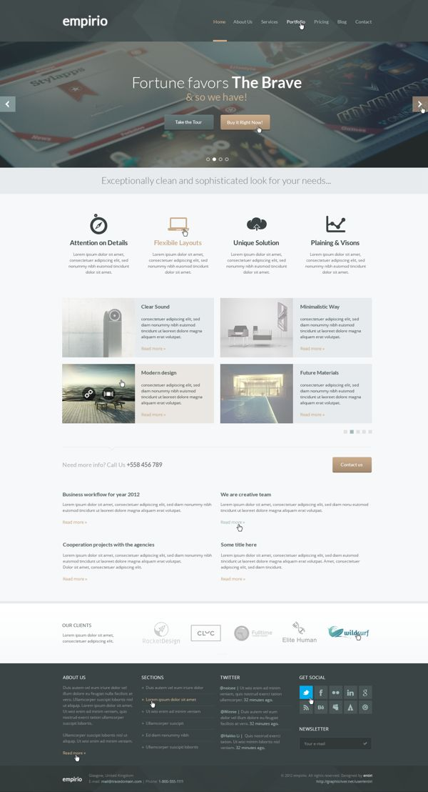 empirio PSD Template by entiri, via #Behance #Webdesign