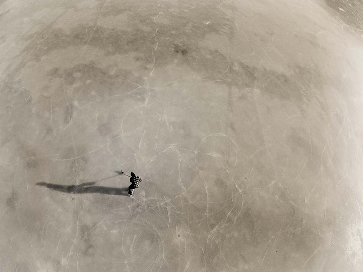 playing shinny on a frozen lake
