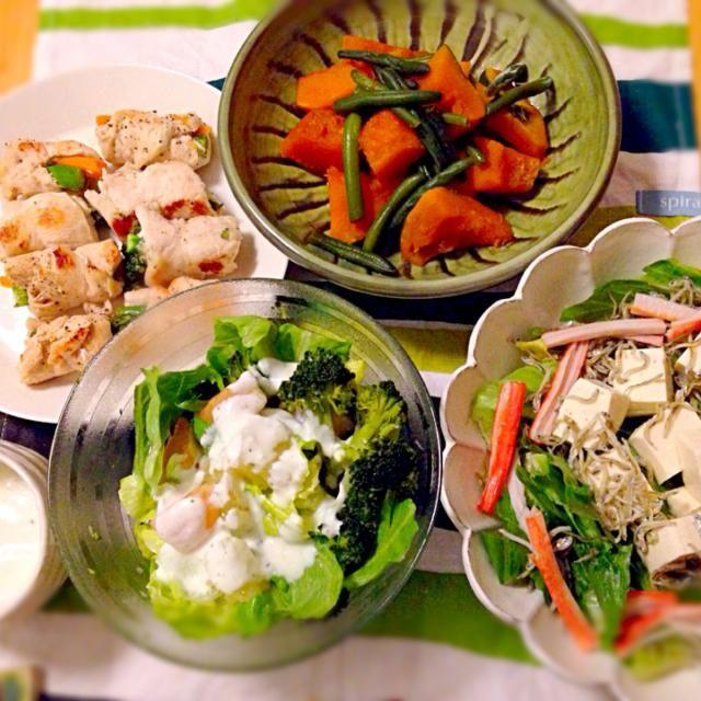 5.1 - 6件のもぐもぐ - ささみのアスパラにんじん巻き、かぼちゃの甘煮、豆腐サラダ、グレープフルーツサラダ、ヨーグルトドレッシング by nanananna