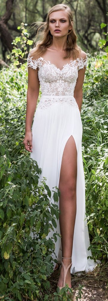 Stunning off-the-shoulder floral applique thigh high slit wedding dress; Featured Dress: Limor Rosen More