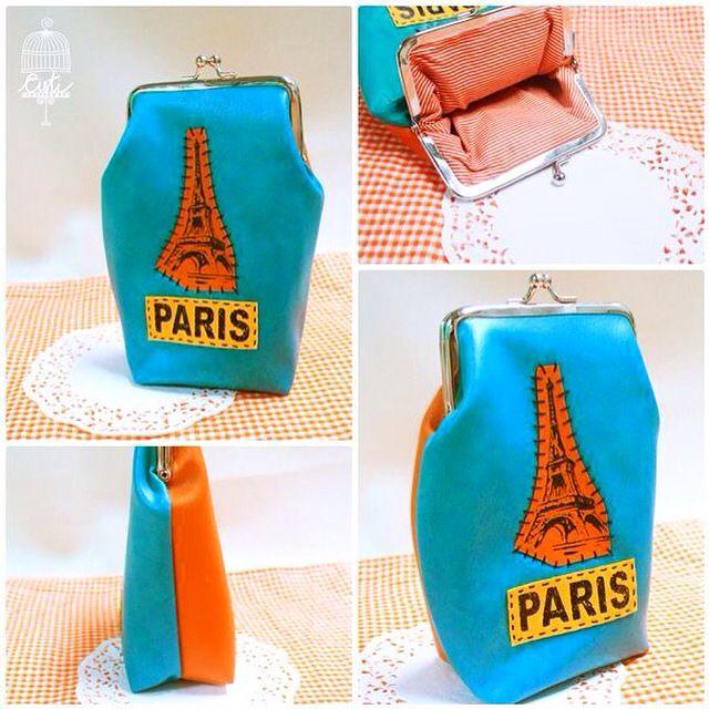 handmade photo frame ideas - Colorfull handmade paris landmark framepurse