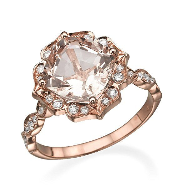 Natural peach/pink 2.25 CT VS Morganite Ring with Diamonds Rose Gold 14K Flower Leaves Halo