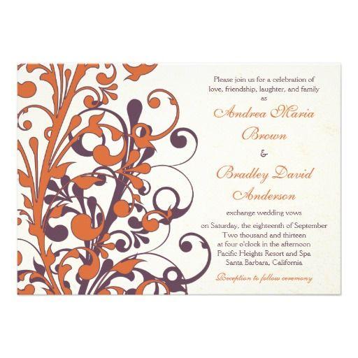 Autumn Purple Orange Floral Wedding Invitation