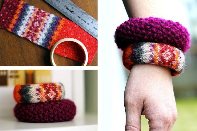 Riutilizzare i maglioni di lana - Bracciale rigido