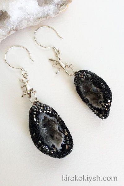 """Kira Koktysh Jewelry Earrings """"Starry Night"""" Earrings (Materials: Brazilian Oco Geode, hematite,  Swarovski crystals,  Sterling Silver earwire)"""
