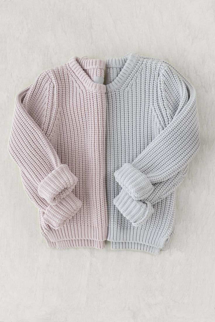 """We love how this flatlay incorporates two of the same items in different colors to create one full """"sweater""""!"""