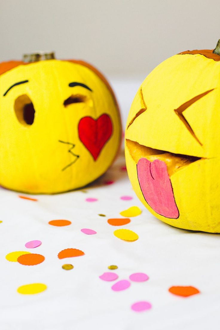 Make a set of emoji carved pumpkins with this Halloween DIY project.