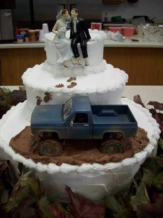 Mudding wedding cake- Nick's pick! Of course we need to have a DODGE truck that matches his!