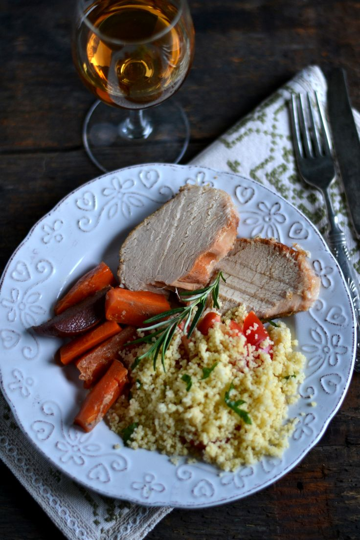 Roasted pork with couscous salad