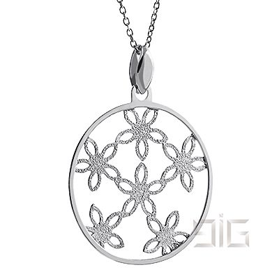 Silver round flower pendant - available for order