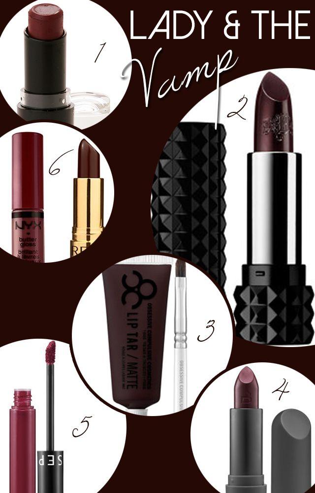 Fall lip colors. Vampy lipsticks via Wake Up For Makeup.