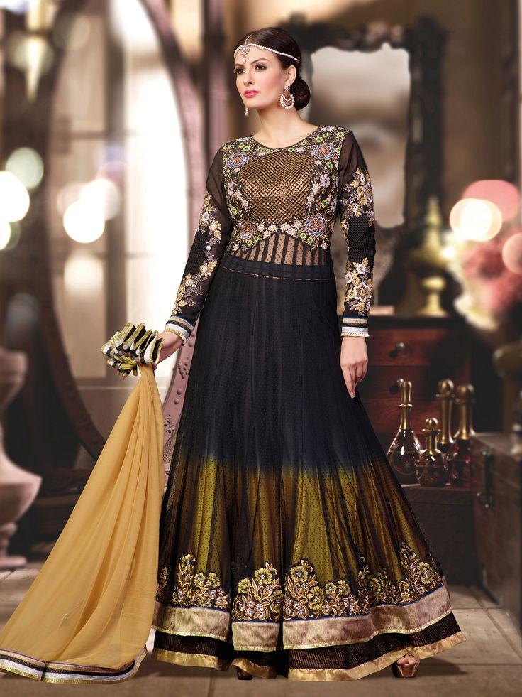 USD 101.43 Black and Mehendi Shaded Floor Length Anarkali Suit 40003