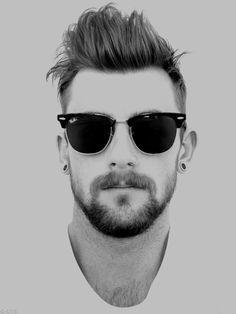 male, portrait, black and white, sunglasses,