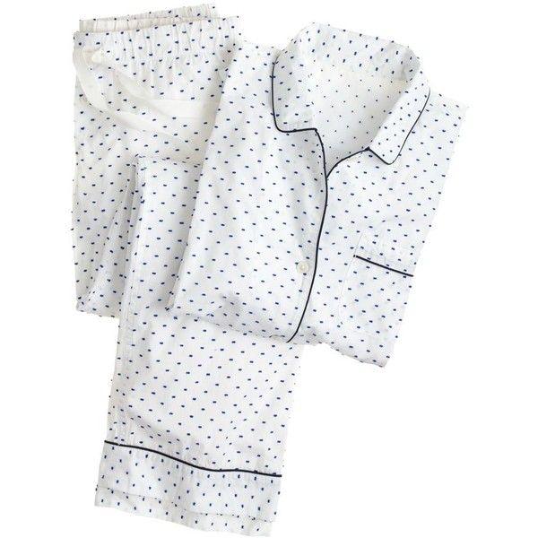 J.Crew End-on-end pajama set in swiss dot (€71) ❤ liked on Polyvore featuring intimates, sleepwear, pajamas, pyjama, sleep, long sleeve cotton pajamas, j crew pjs, long sleeve pajamas, j crew pyjamas and j crew pajama set