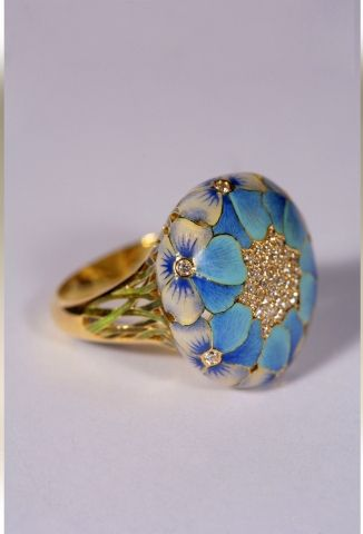 Enamel and diamond pansy ring by Ilgiz F. Stunning.