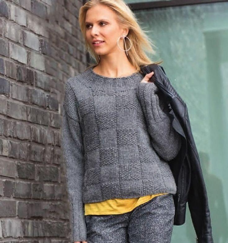 Пуловер с шахматным узором - Вязаные модели спицами для женщин