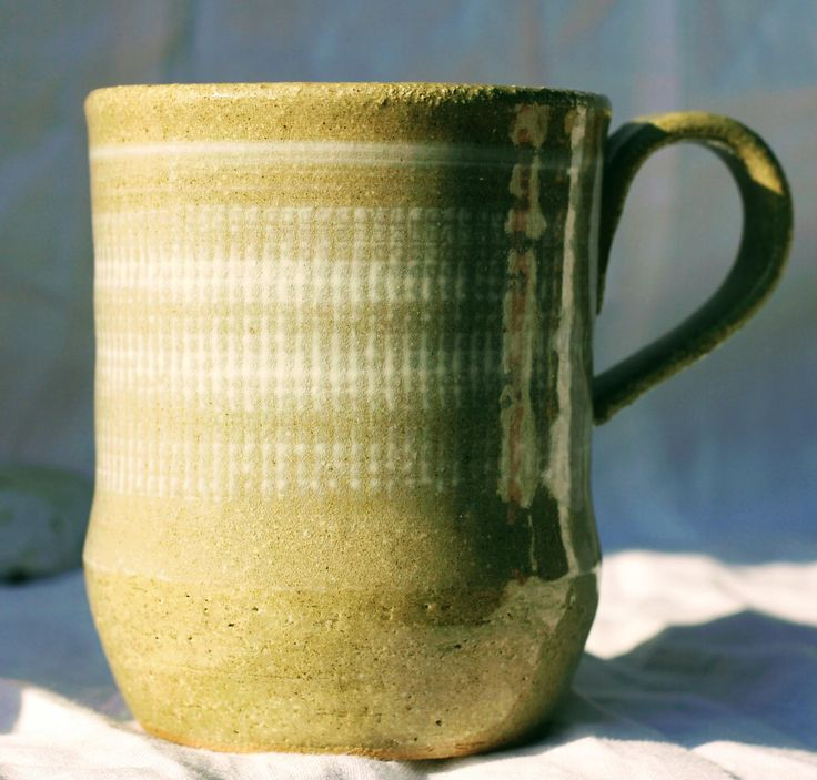 Pottery Mug, Stoneware clay,hi fired, white slip decorated , Microwave and Dishwasher-safe, Wheel-Thrown by FireonClay on Etsy