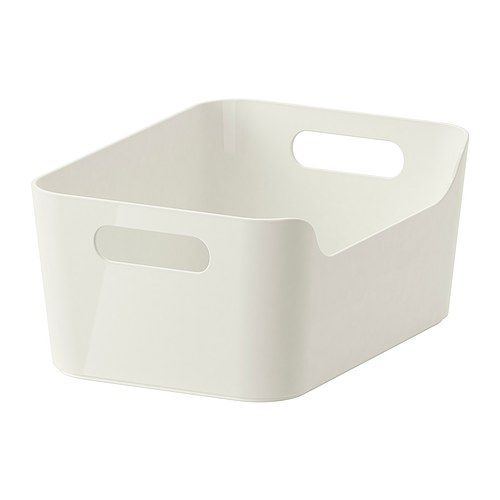 IKEA VARIERA Box White 24x17 cm The box is easy to carry and take in and out of a drawer or shelf since it has two cut-out handles that make it...