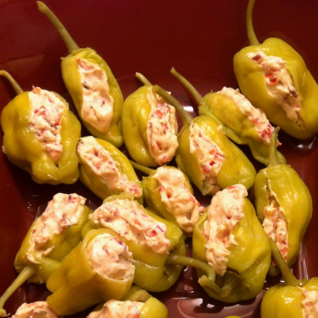 Stuffed Pepperoncini- I stuffed mine with pimento cheese instead of cream cheese- both sound yummy