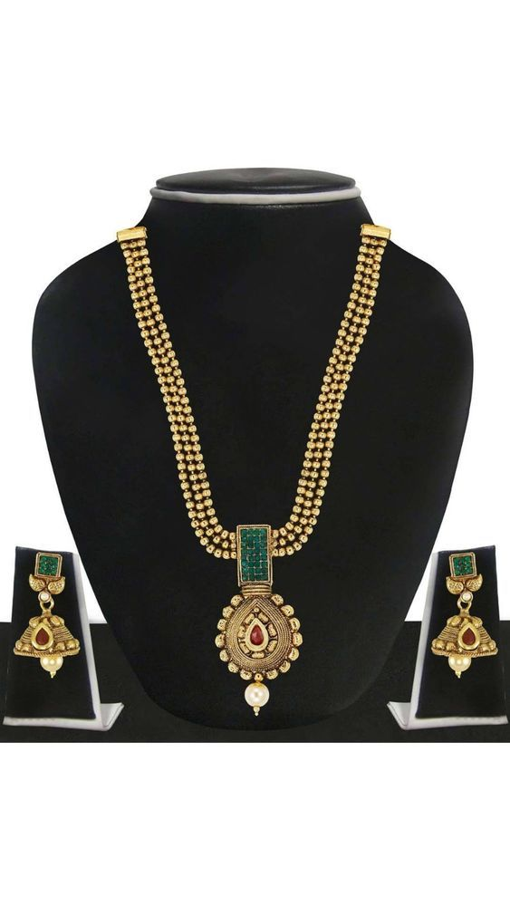Indian Bollywood Traditional Red Green Stone Gold Plated  Necklace Pendant Set #natural_gems15