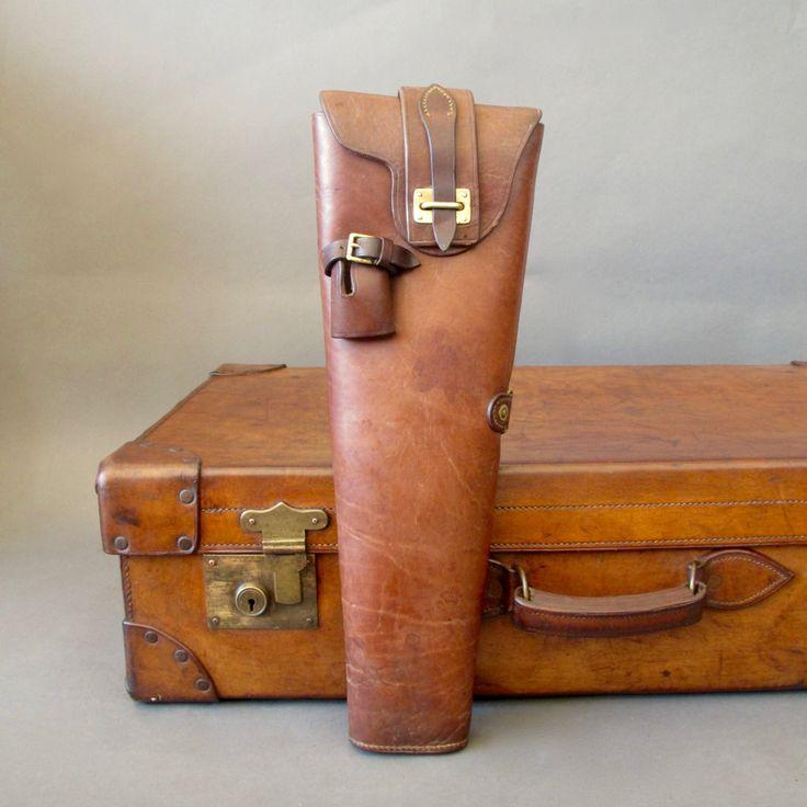 WWII Era English Leather Gun Case from England - Antique Shot Gun Case - Military Gun Case by FanshaweBlaine on Etsy