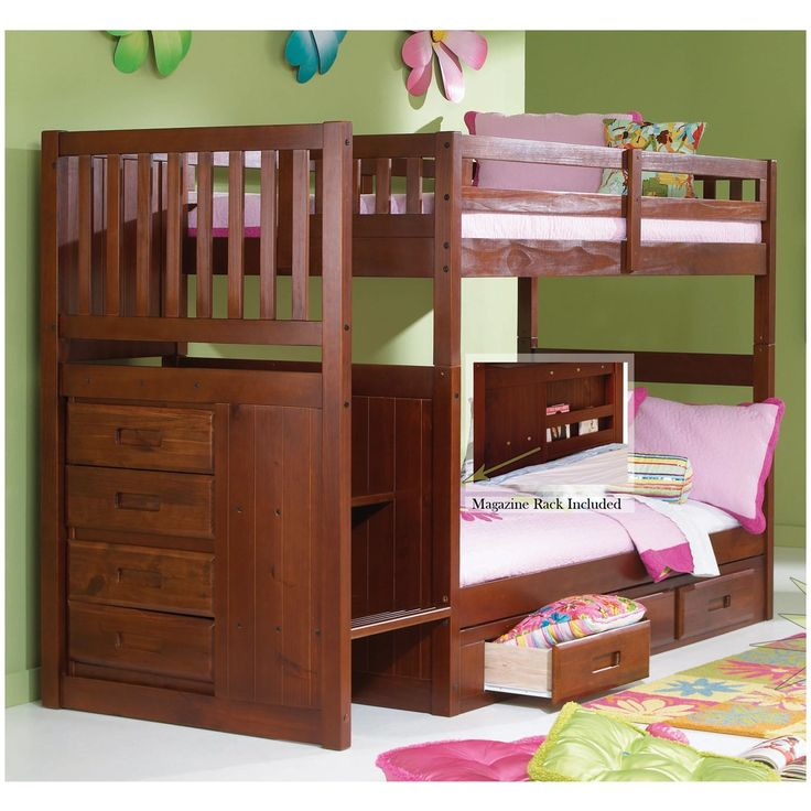 Staircase Bunk Bed Merlot Finish Staircase Bunk Bed