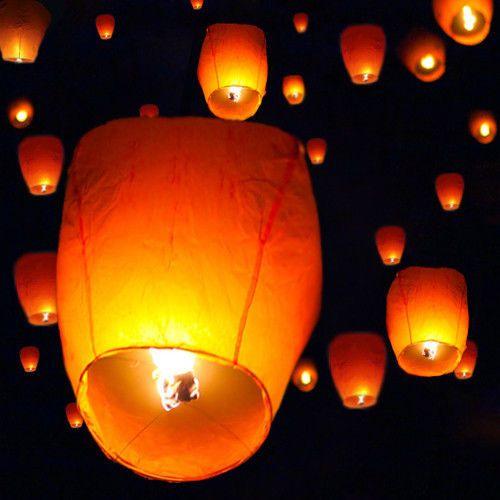 50 White Chinese Paper Sky Flying Wishing Lantern Lamp Candle Party Wedding Wish