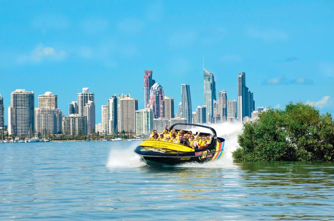 Gold Coast Jet Boat Ride from Main Beach Zoom around the waters of the Gold Coast Broadwater on a thrilling jet boat ride. As you race through the scenic waterway, your captain points out landmarks including Southport Yacht Club, Palazzo Versace Hotel, Marina Mirage, Seaworld, Sovereign Island and Moreton Bay Marine Park. You might even spot wildlife such as dolphins, wallabies and birds. Since this tour goes further than others, you can see and do more while enjoying the f...