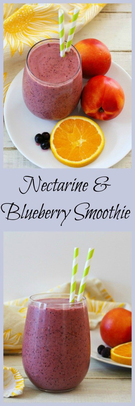 Nectarine Blueberry Smoothie - A refreshing yogurt smoothie made with fresh nectarines, oranges and blueberries.