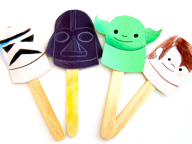 Star Wars con palitos de paleta.  (Star Wars Stick Puppets)