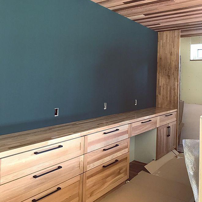 キッチン カップボード ウッドワン 黒板 背面収納 などのインテリア実例 2017 10 08 21 22 08 Roomclip ルームクリップ 2020 画像あり ウッドワン カップボード リビング インテリア 壁
