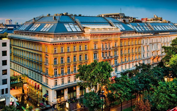 Download wallpapers Grand Hotel Wien, evening, luxury hotel, old building, Vienna, Austria