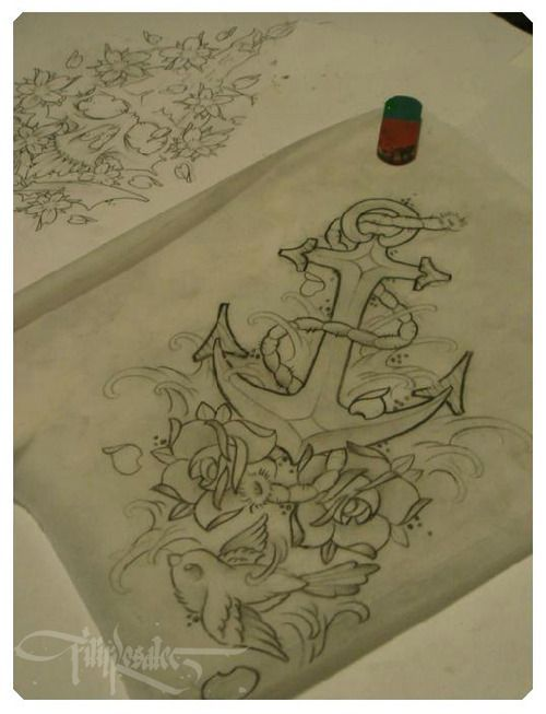 Anchor Sketch.  LOVE this!  Could be a combo for my Grandmother (Her name was Hope) and PawPaw (he is retired Navy)