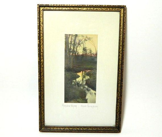 Antique Fred Thompson Signed Hand Colored Photograph Meadow #landscape #vintage #fred thompson