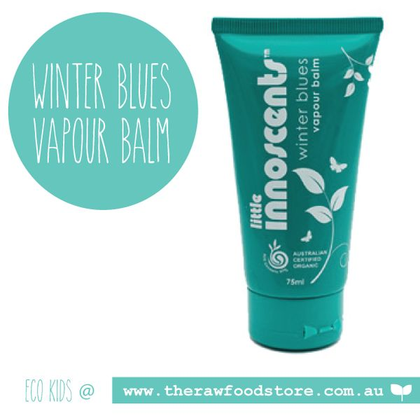Little Innocents - Winter Blues Vapour Balm 75ml. 100% natural, organic and safe for babies. Contains wintergreen and eucalyptus, to get rid of that stuffy little nose that happens in winter! Low allergen.