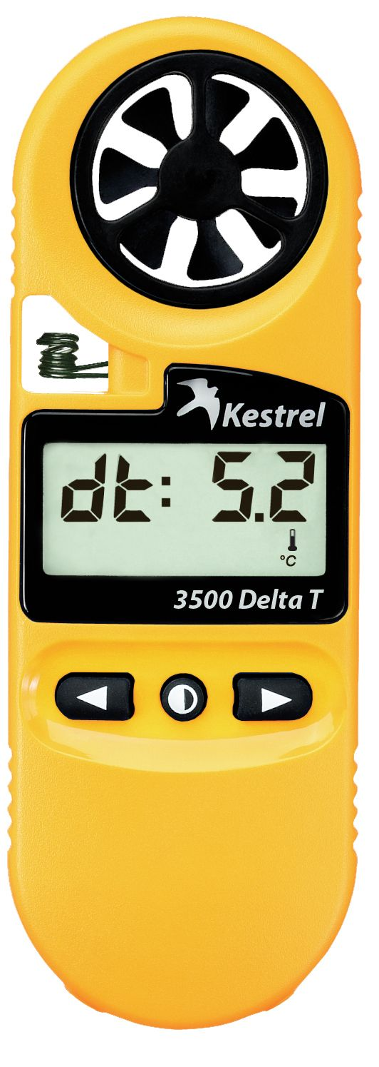 Designed specifically for agricultural professionals, the Kestrel 3500 Delta T provides Delta T readings. Delta T is the spread between the wet bulb temperature and the dry bulb temperature, and it offers a quick guide to determining acceptable spraying conditions. When you know Delta T, you ensure that every drop of spray counts.
