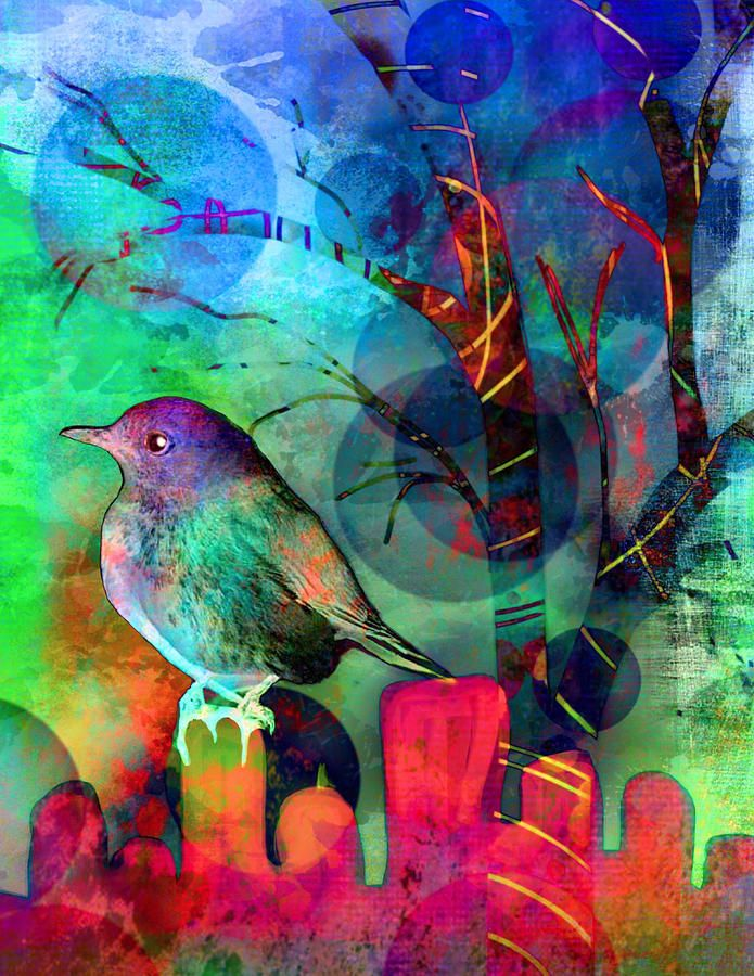 Bird At Dusk Painting by Robin Mead
