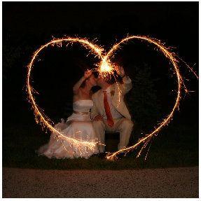 Sparkler wedding photo.