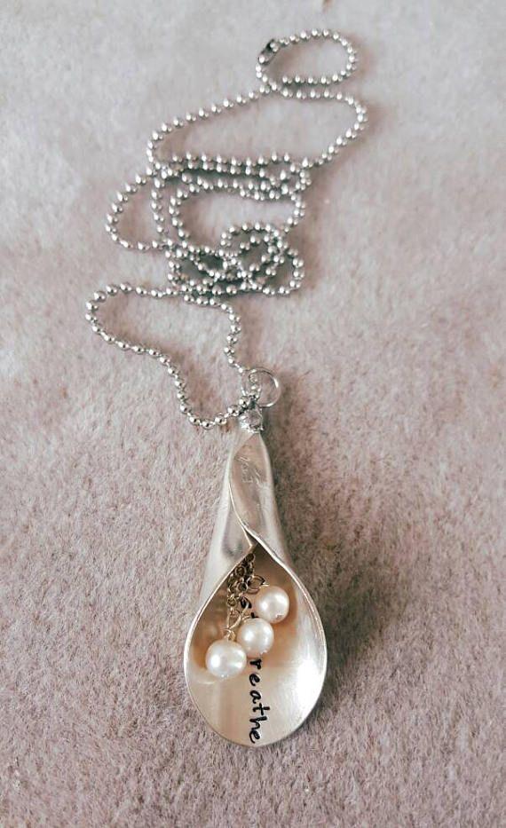 Vintage spoon lily necklace