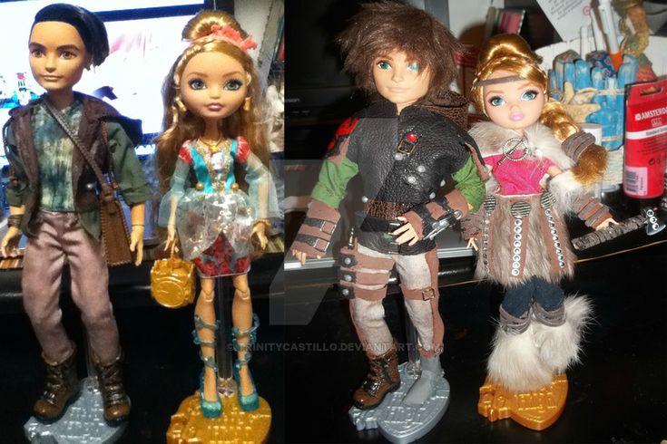 Hiccup and Astrid custom dolls by TrinityCastillo.deviantart.com on @DeviantArt
